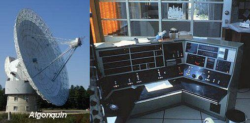 Left: VLBI antenna at Algonquin. Right: Indoor computer equipment