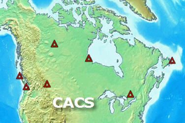 Map of Canada with red triangle indicating the location of the 7 first CACS stations