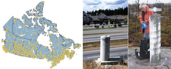 Left: Map of Canada with yellow symbols showing locations of CBN pillars. Mostly located along southern Canada. Right: Completed pillar on roadside and technician doing a GPS survey on a pillar