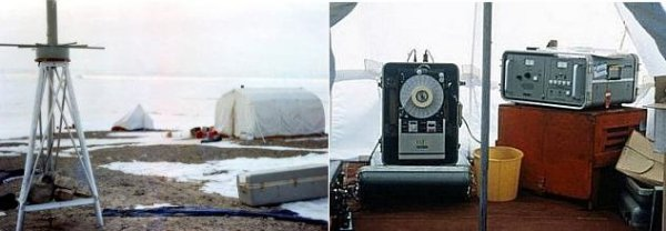 Left: Doppler on a tripod with tents in the background.  Right: Doppler control station in a tent