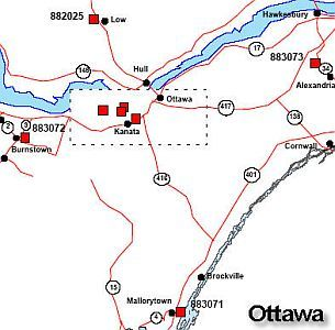 Map of the Ottawa region with red symbols indicating GPS occupations