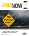 cover page of guide, titled, 7 Steps to Assess Climate Change Vulnerability in Your Community – Workbook & Case Studies