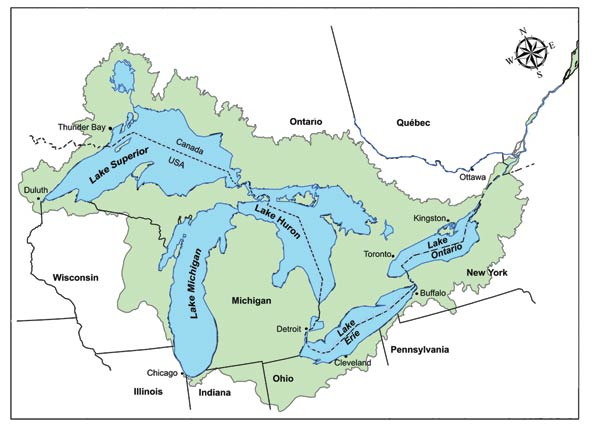 Map Of Canada 5 Great Lakes.Climate Sensitivities Impacts And Vulnerability Subregional