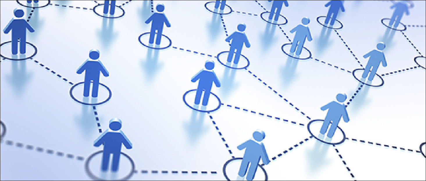 Decorative image illustrating a network of people with each person connected to others by a dotted line