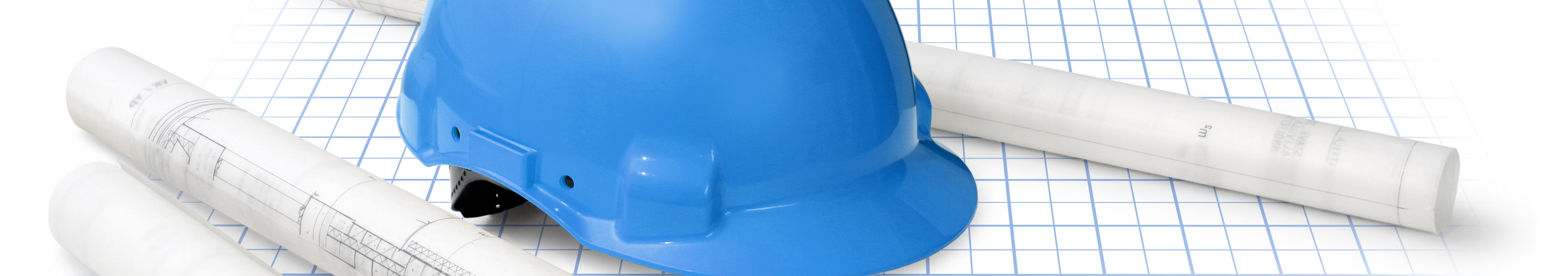 Image of a blue construction hat on floor plans