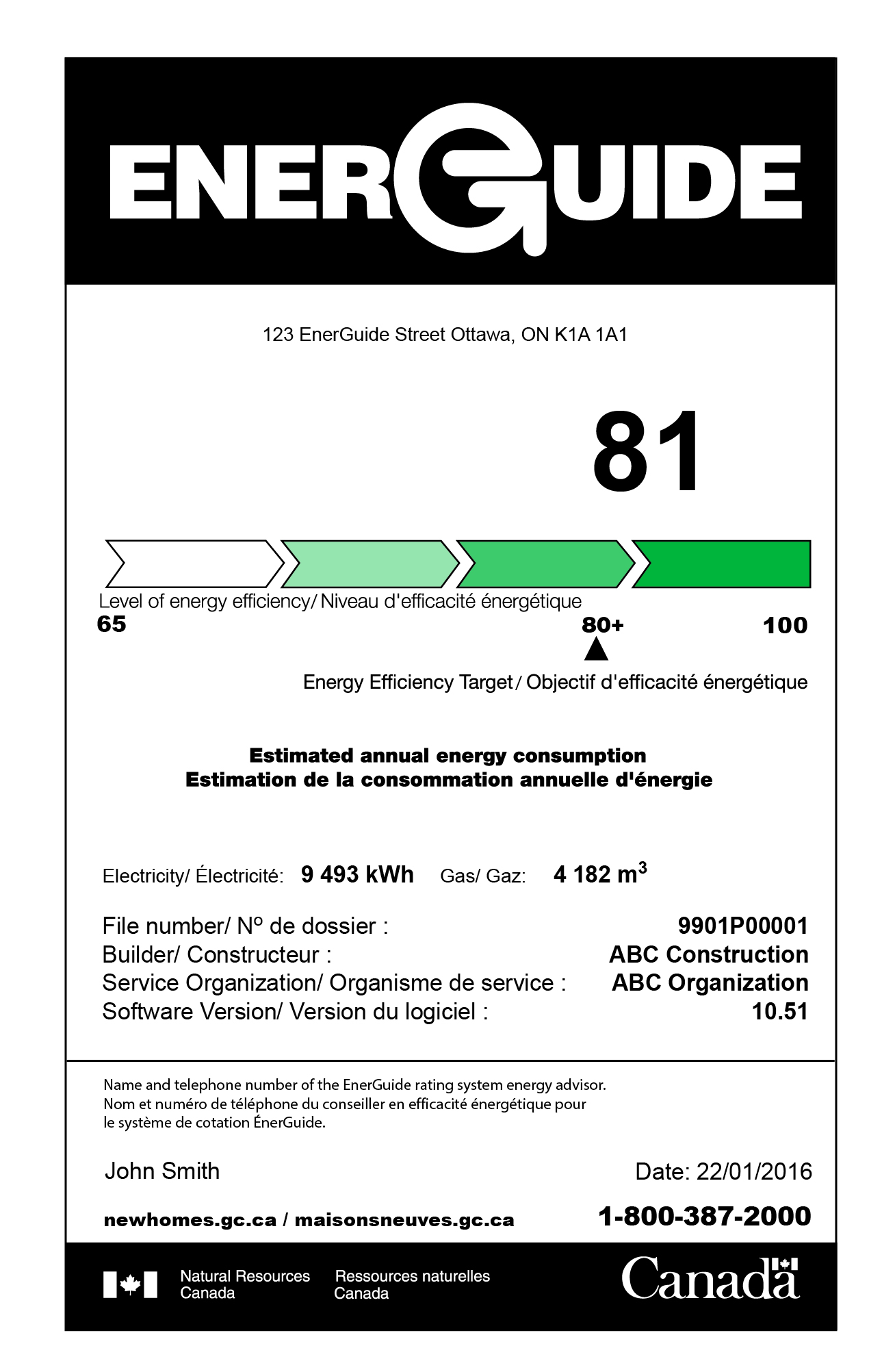 Sample Label EnerGuide Rating : 1-100 Scale
