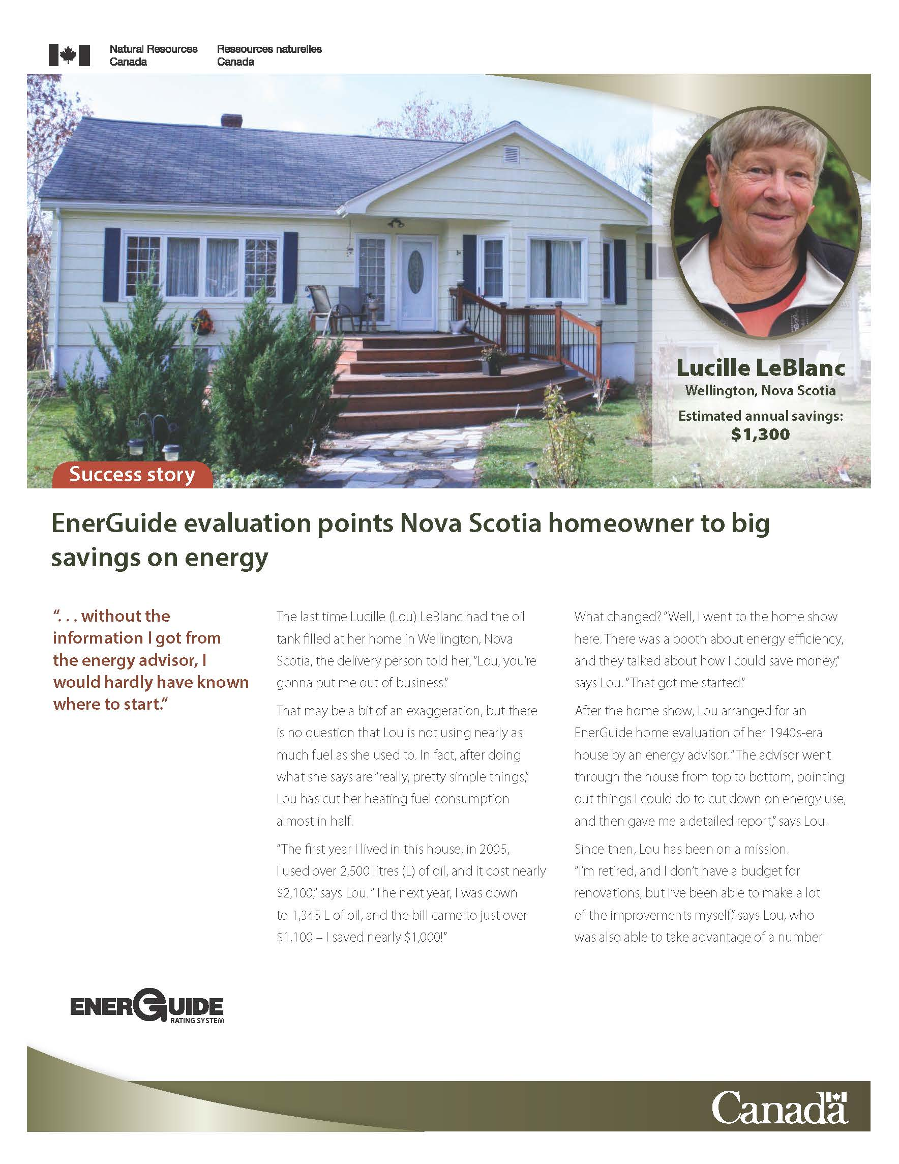 EnerGuide evaluation points Wellington, Nova Scotia homeowner to big savings on energy