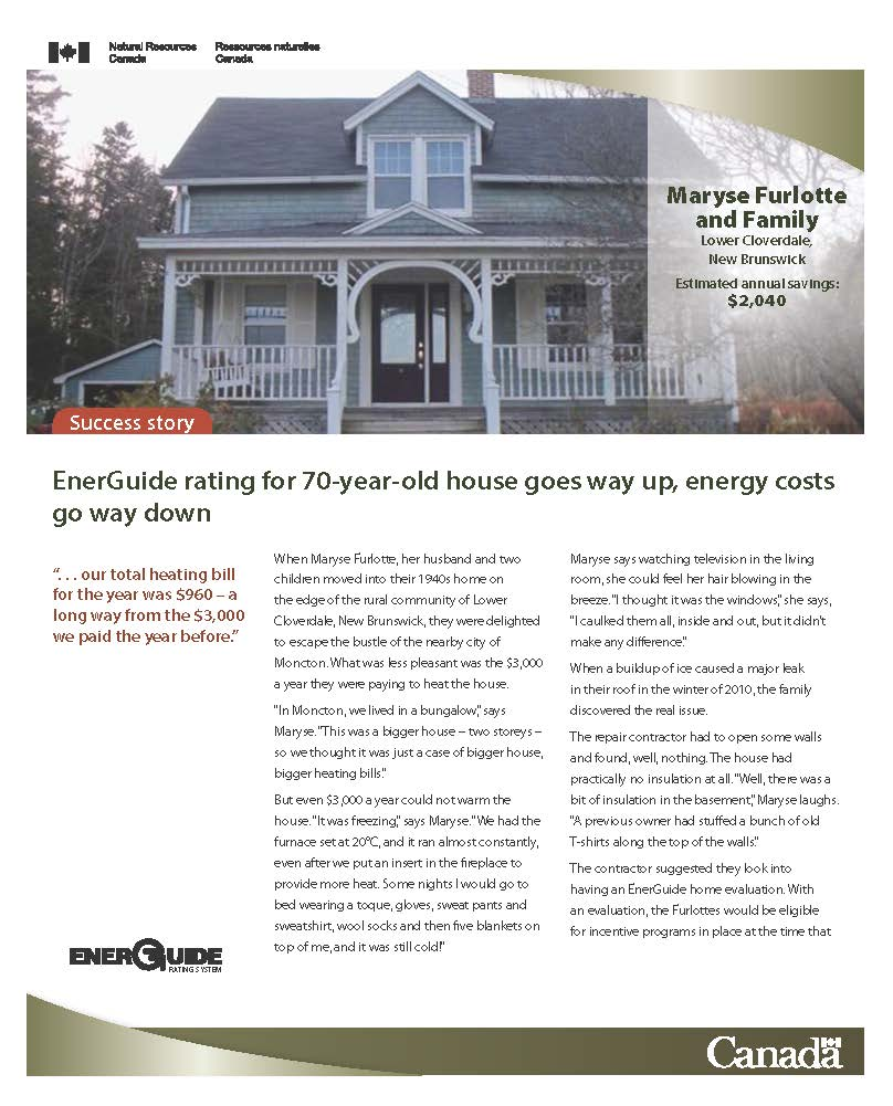 EnerGuide evaluation points Lower Cloverdale, New Brunswick homeowner to big savings on energy