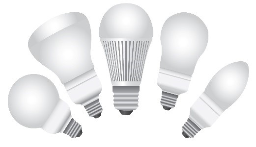 LED bulbs in different shapes