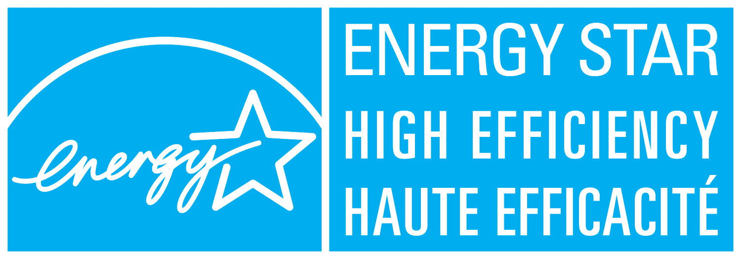 ENERGY STAR HIGH EFFICIENCY – HAUTE EFFICACITÉ, horizontal cyan symbol