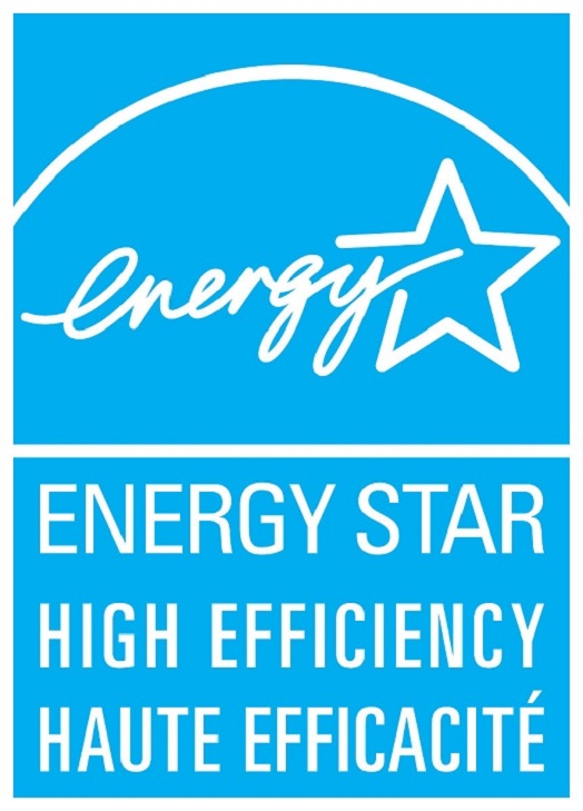ENERGY STAR HIGH EFFICIENCY – HAUTE EFFICACITÉ, vertical cyan symbol