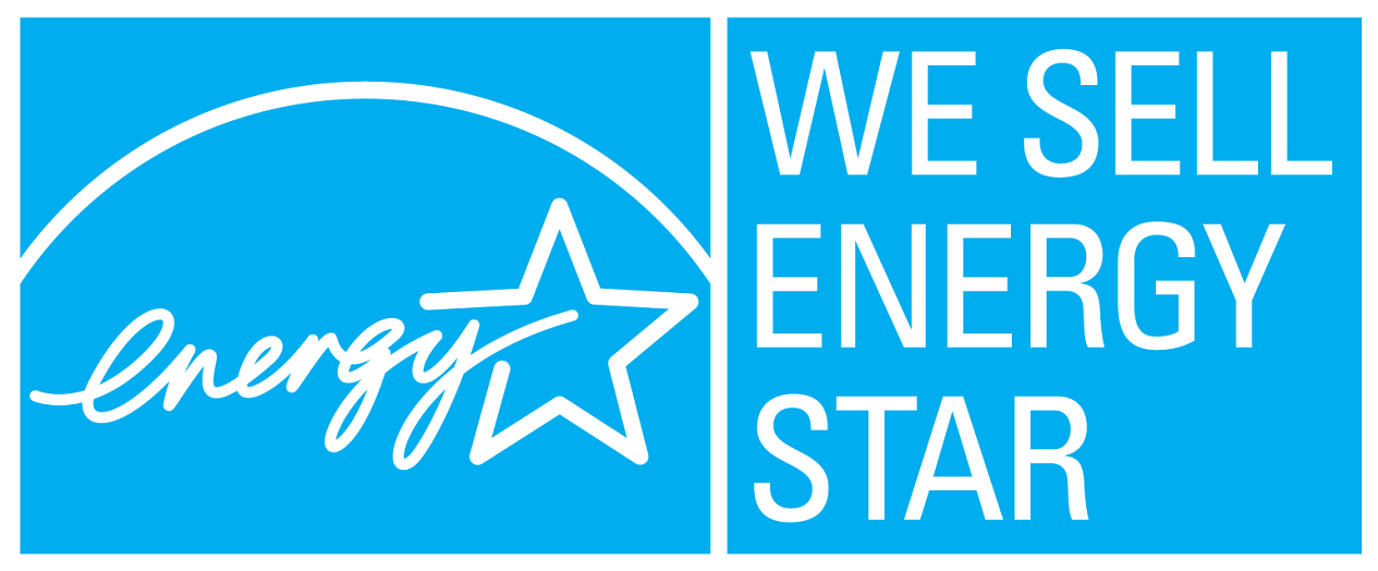 WE SELL ENERGY STAR, horizontal cyan symbol