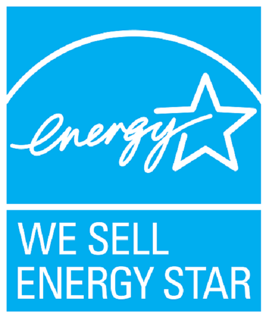 WE SELL ENERGY STAR, vertical cyan symbol