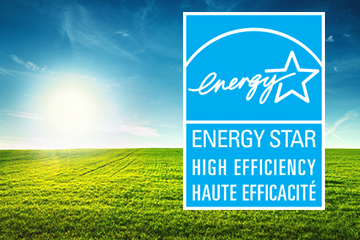 ENERGY STAR logo on a green landscape with blue sky