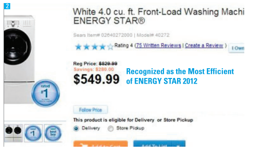 An example of the preferred text, Recognized as the Most Efficient of ENERGY STAR 2012, on a retailer website