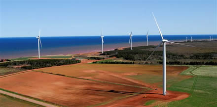Concept illustration of WEICan's Wind Farm, PEI, Canada