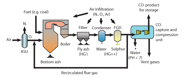 Oxy-fuel combustion for power generation