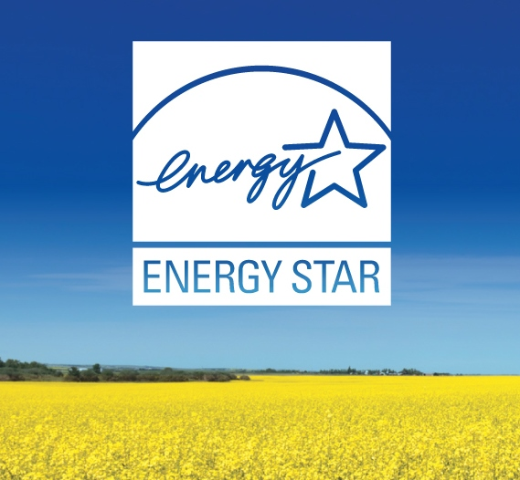 ENERGY STAR white logo dropped-out of a photographic image