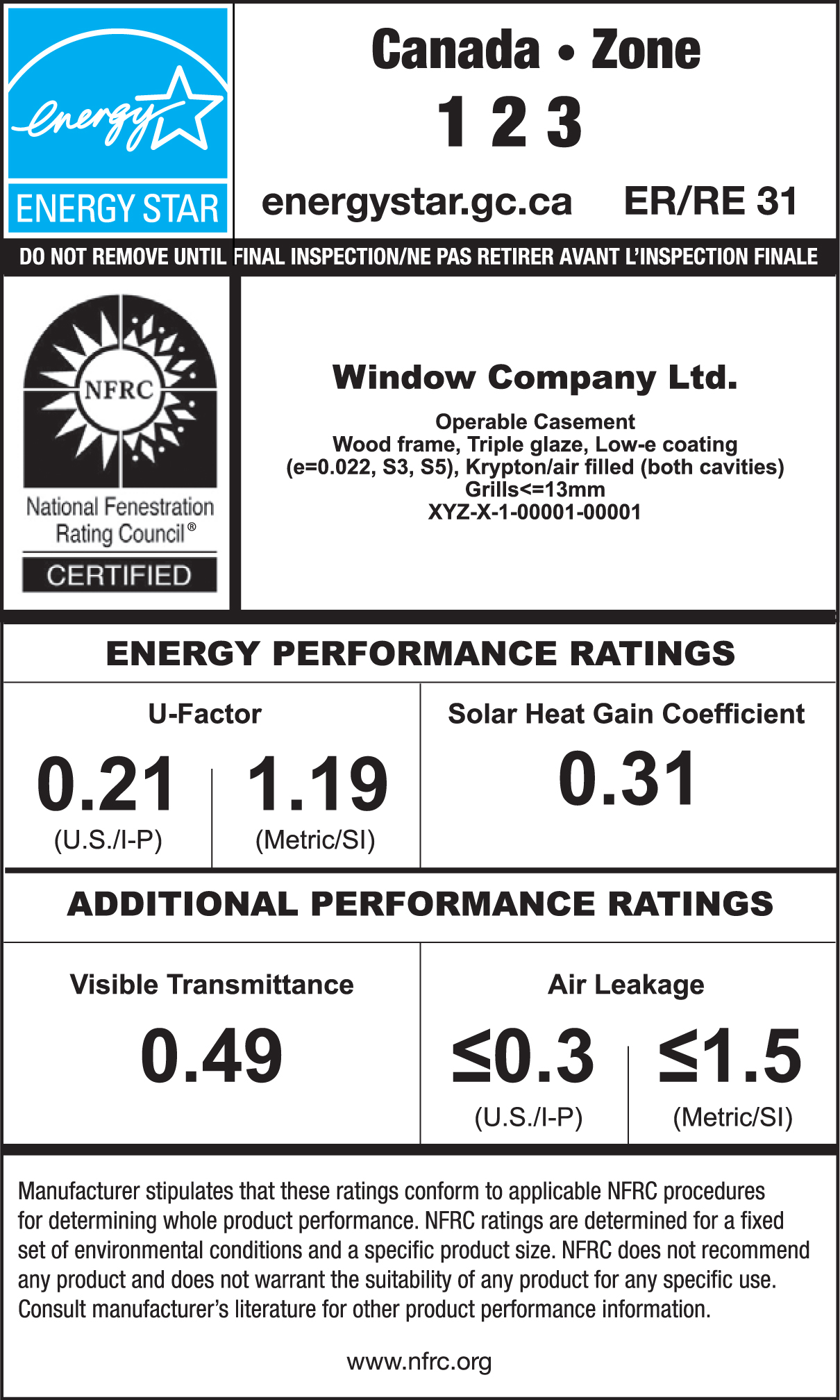 Sample ENERGY STAR / NFRC Temporary Label For A Window. The ENERGY STAR  Portion Has  Name A Star Certificate Template