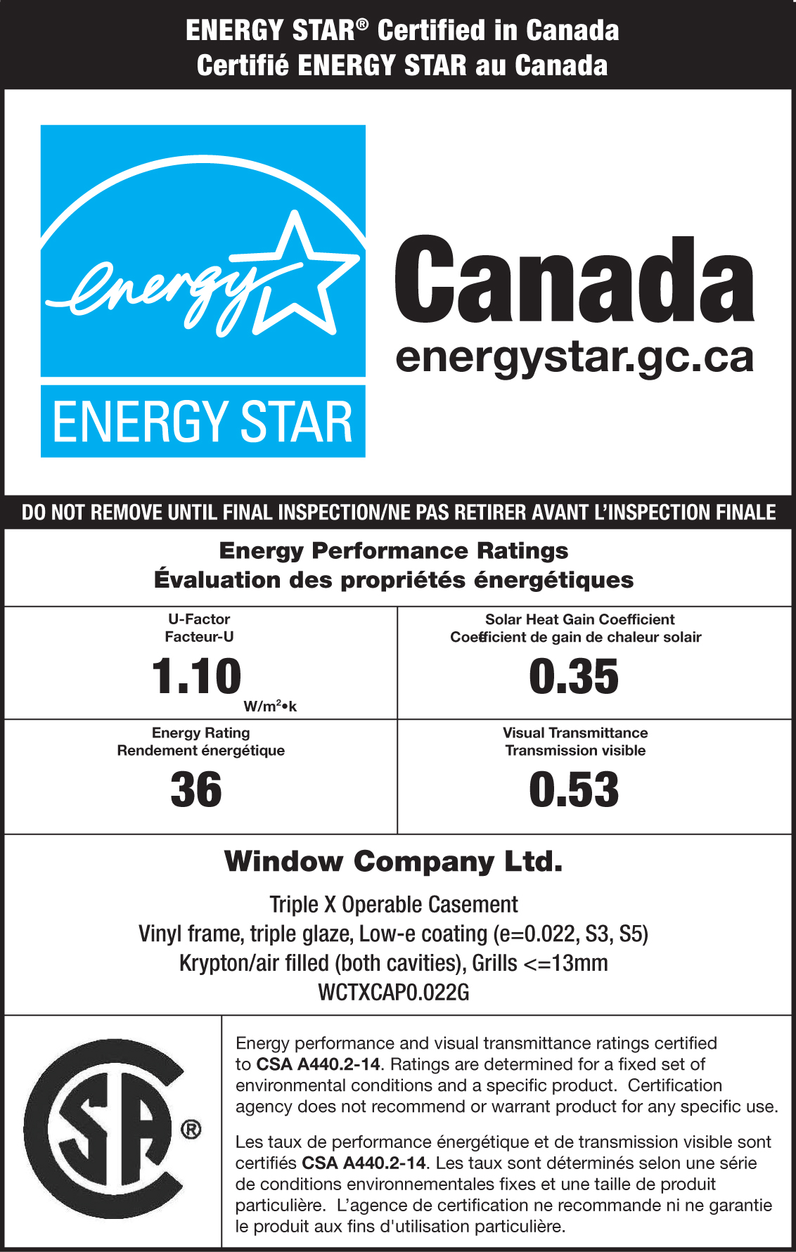 CSA ENERGY STAR Sample Label