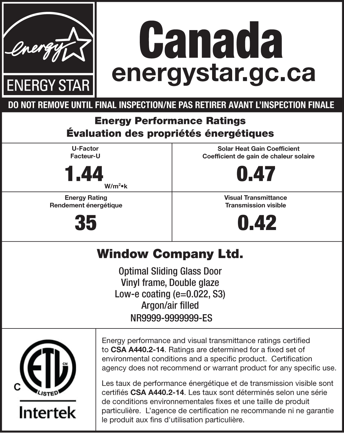 Intertek ENERGY STAR Sample Label