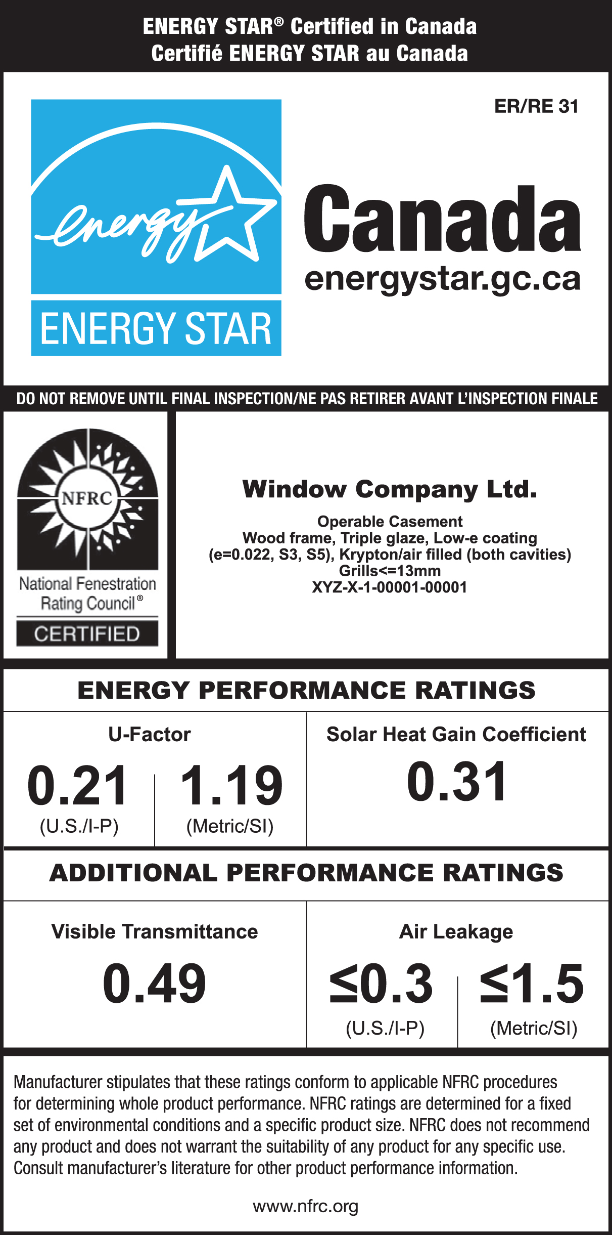 Sample ENERGY STAR label with no map indicating that the product is certified for Zones 1, 2 and 3 with the energy performance label showing the specific performance ratings, brand name, model description and the certification mark of NFRC.