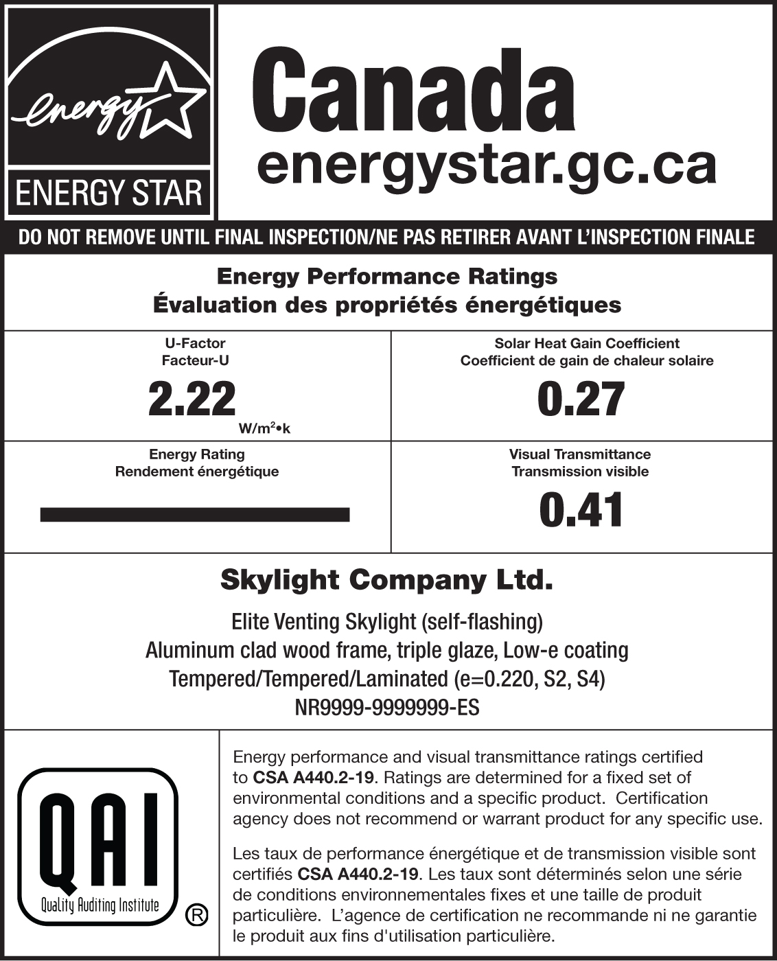 QAI ENERGY STAR Sample Label