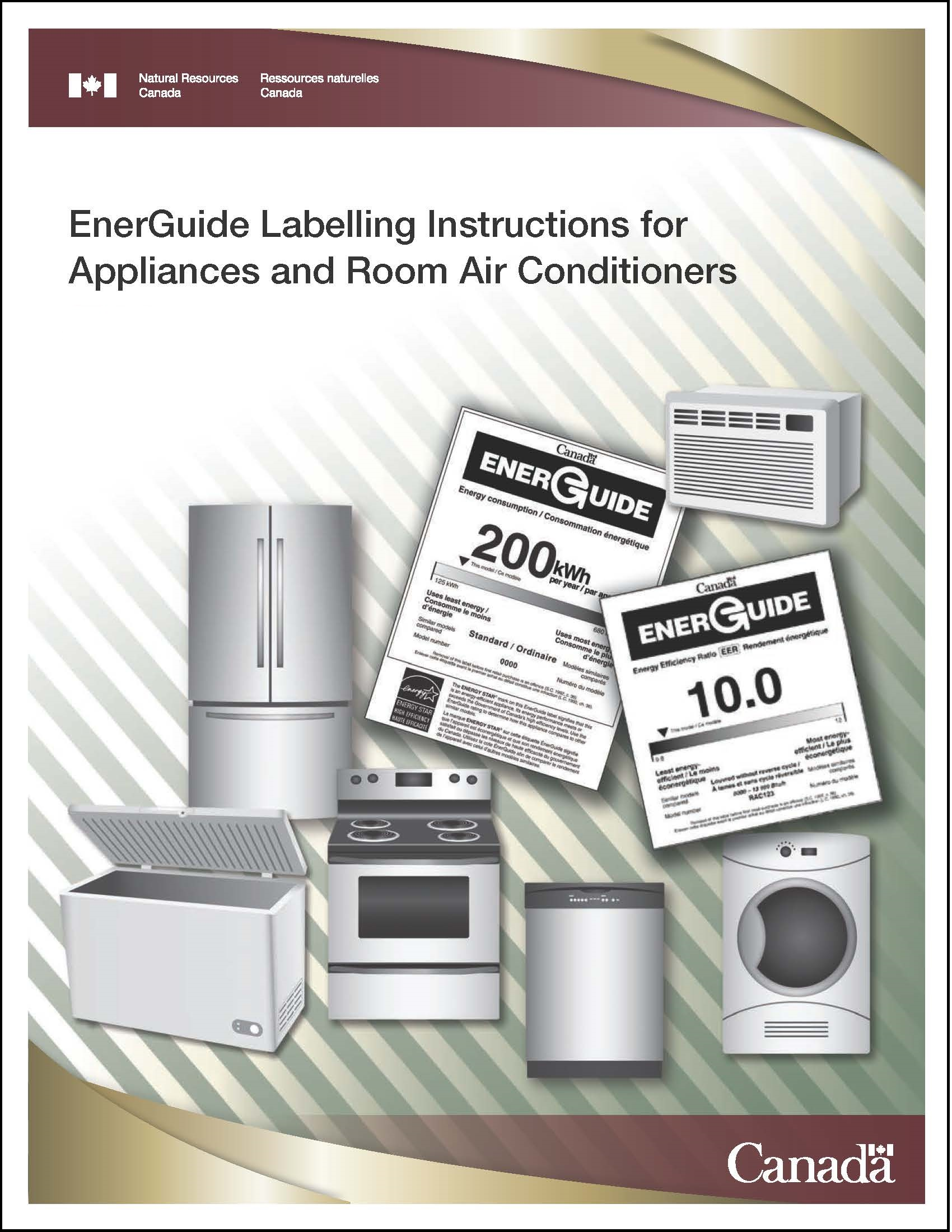 Cover of the EnerGuide Labelling Instructions for Appliances and Room Air Conditioners