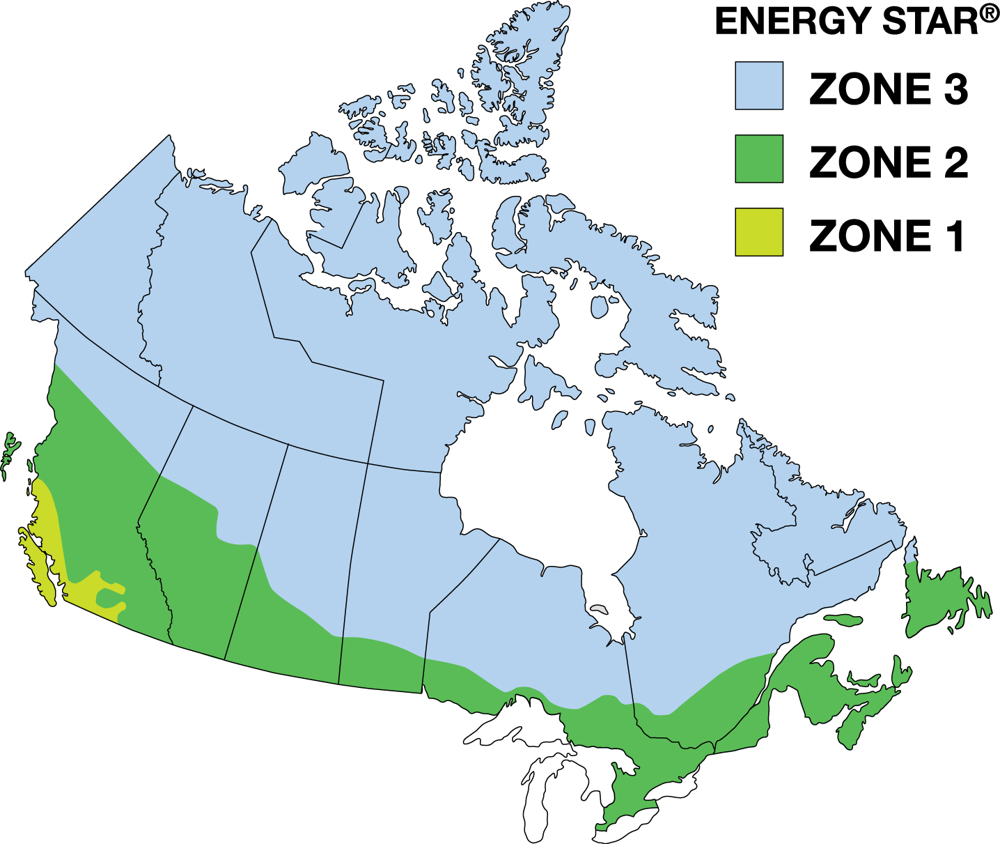 Climate zone map divided into three zones.