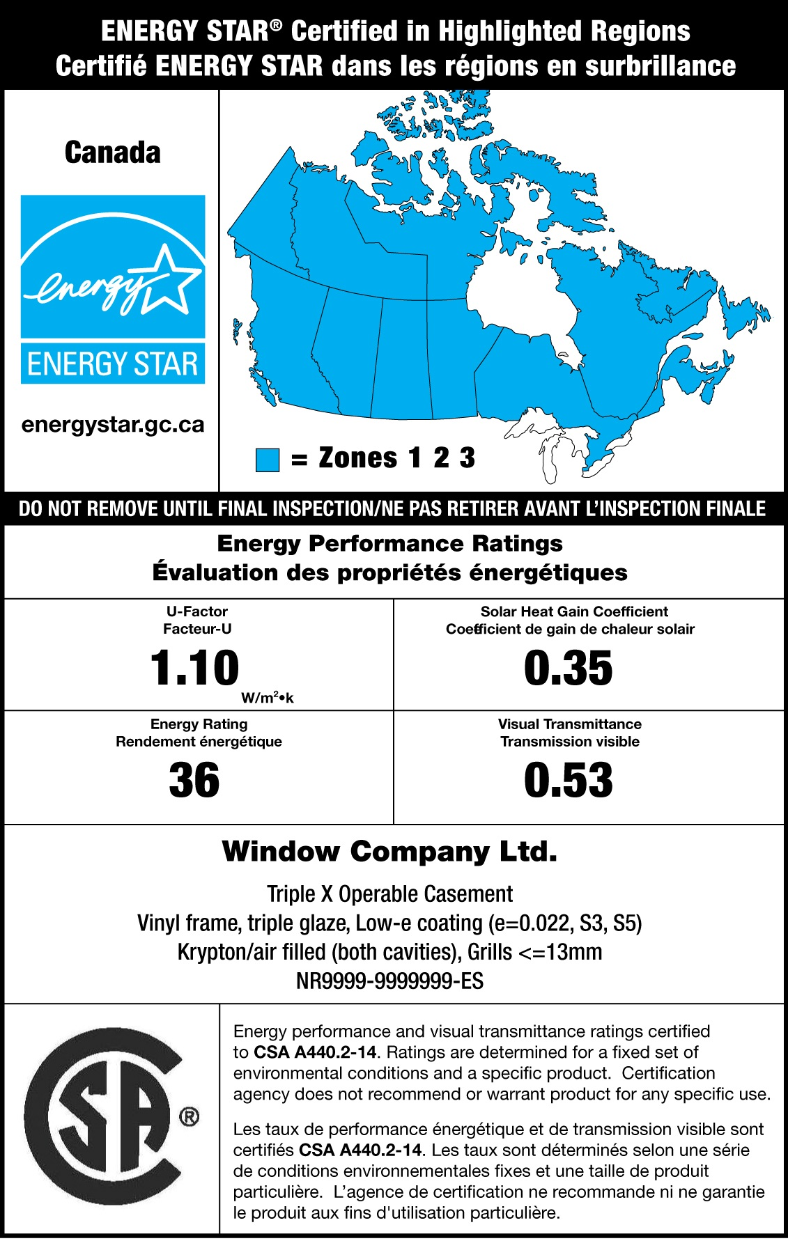 sample energy star label with a map of canada indicating that the product is certified for