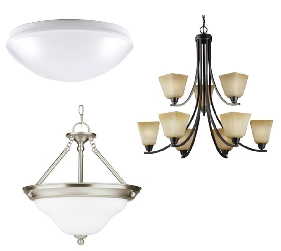 Three different types of lighting fixtures including flush mount lighting, pendant lighting and a chandelier.