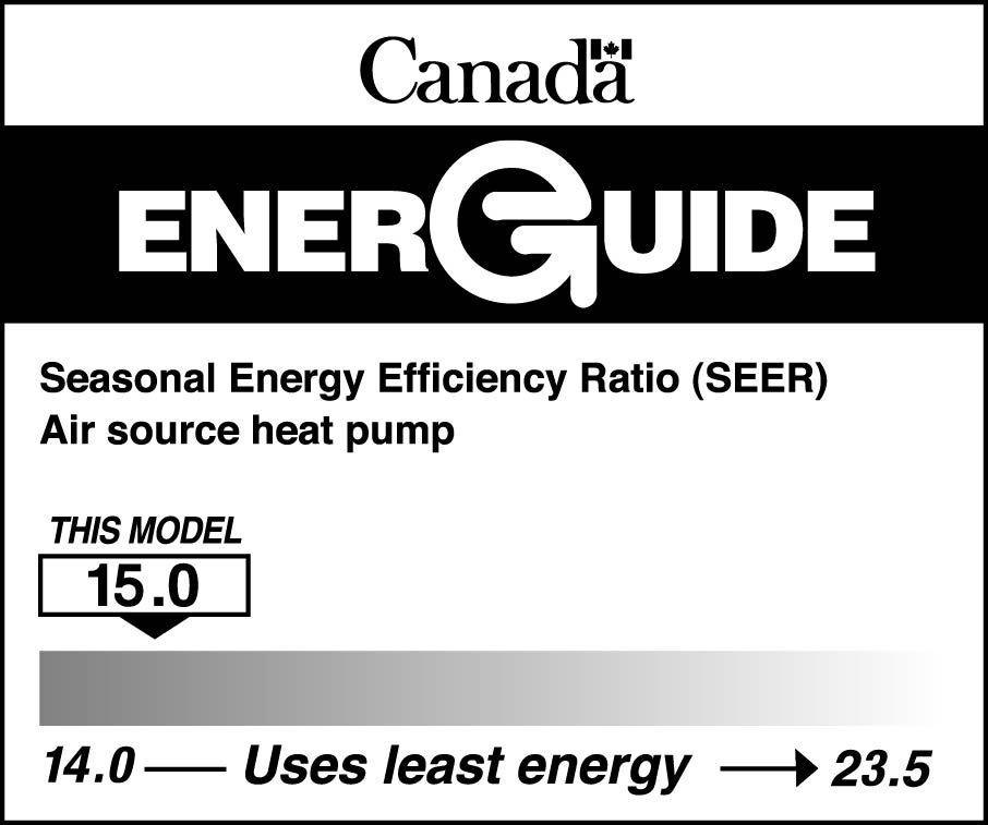 EnerGuide label for an air source heat pump