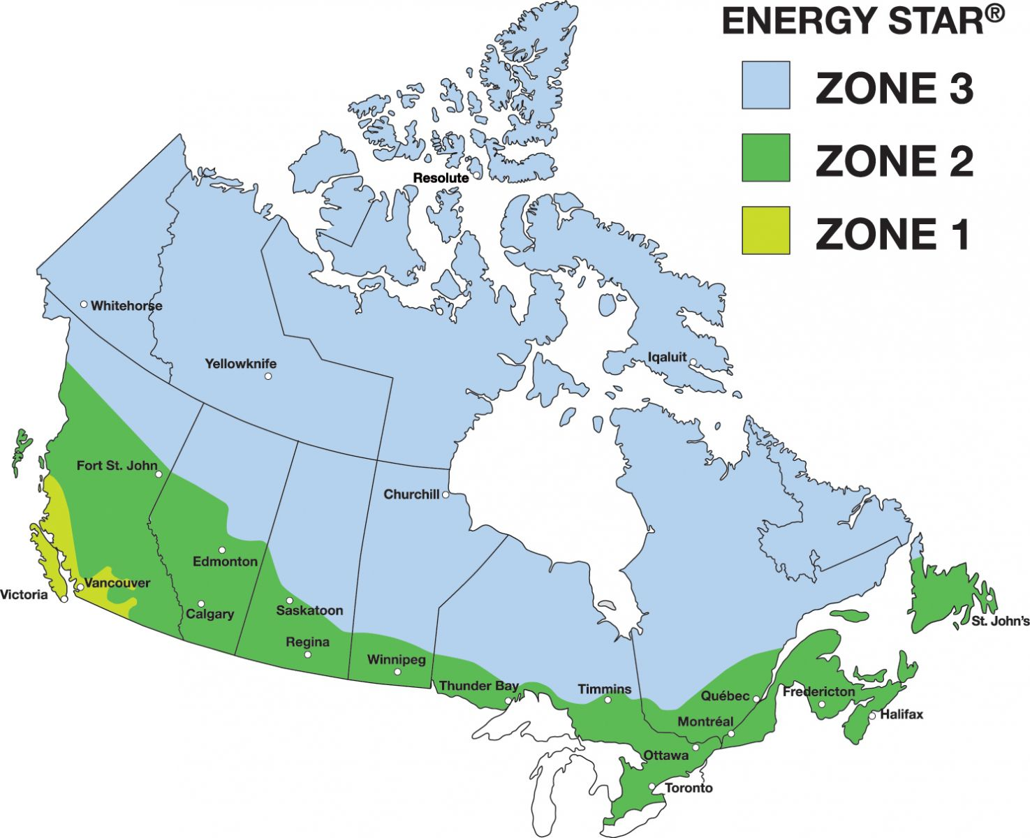 Climate zone map divided into three climate zones