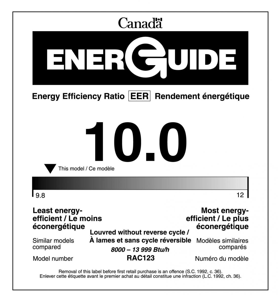 EnerGuide label for room air conditioners with an ENERGY STAR® qualification