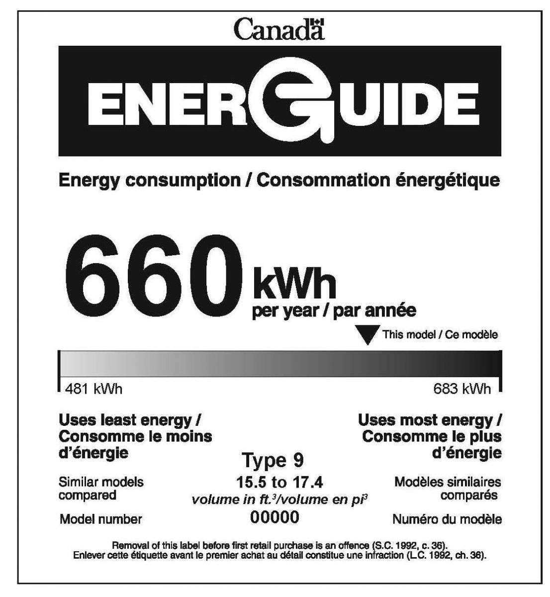 EnerGuide label for a freezer