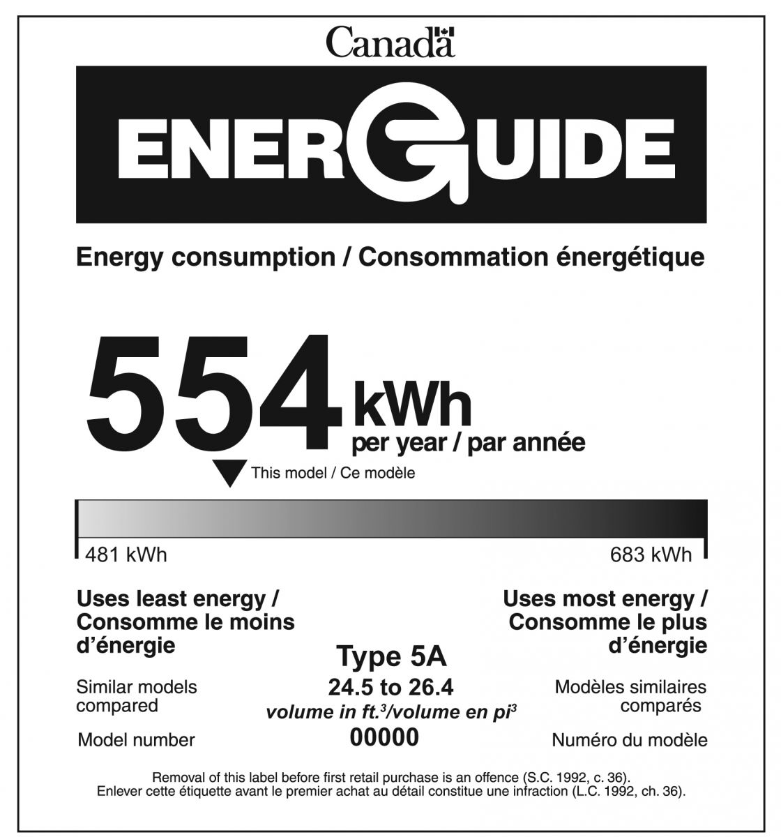 EnerGuide label for a refrigerator