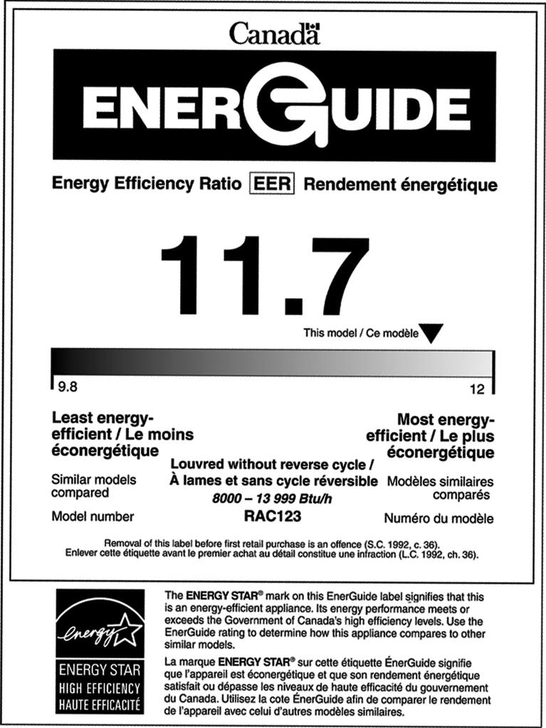 EnerGuide label for room air conditioners