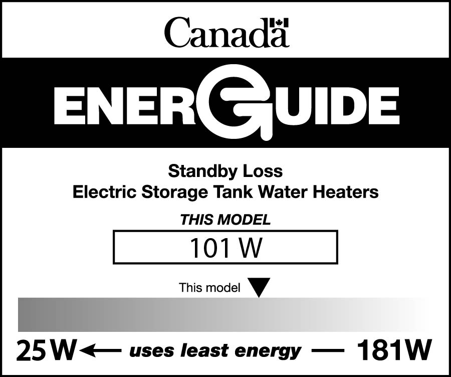 EnerGuide label for an electric storage tank water heater