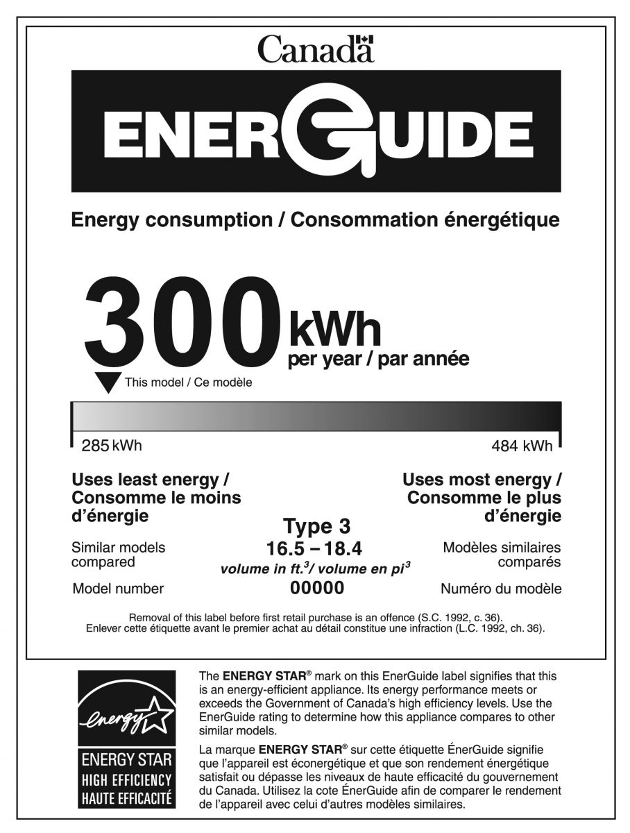 EnerGuide label for a refrigerator that is ENERGY STAR qualified