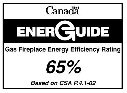 EnerGuide label for gas fireplaces for a single model