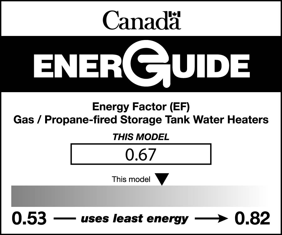 EnerGuide label for a gas or propane storage tank water heater