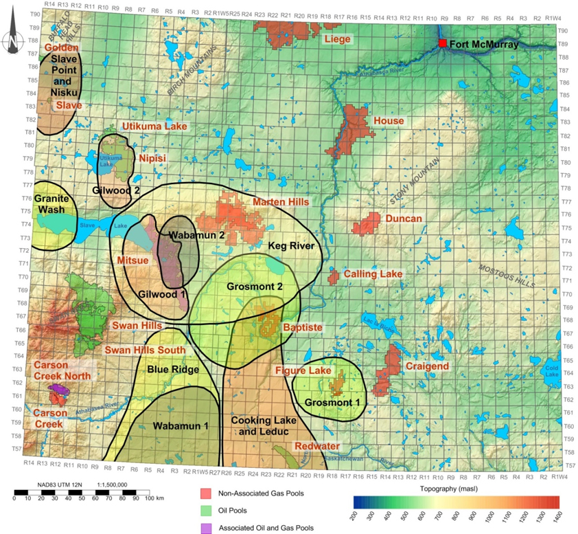 Map of oil and gas reservoirs and of prospective saline aquifer areas in the Devonian strata