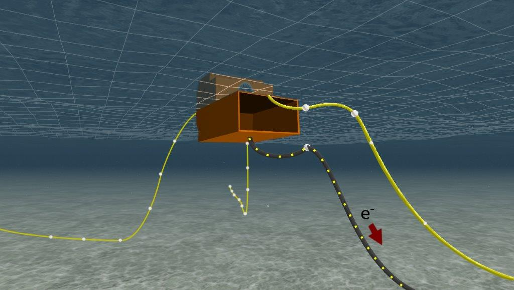 A ProteusDS simulation of Ocean Energy Ltd's Oscillating Water Column WEC, mooring lines and power export cable