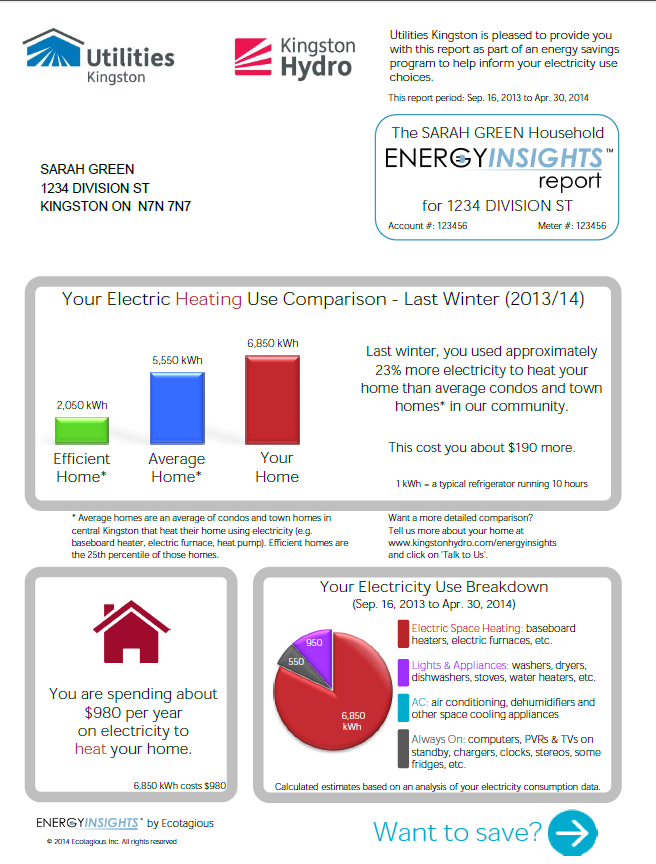 Front side of a Hydro bill insert