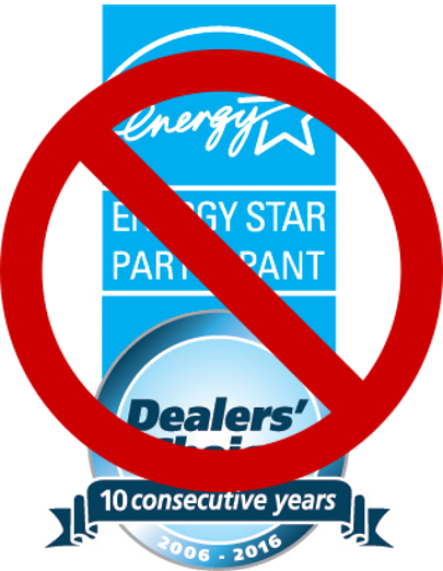 Blue ENERGY STAR Participant symbol combined with Dealer's choice image with a red line through it