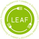 "LEAF logo with ""Leaders in Environmentally Accountable Foodservice"" text encircling image"