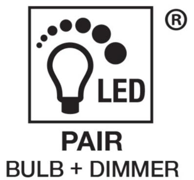 Logo depicting dimming LED light bulb and its dimmer switch compatibility