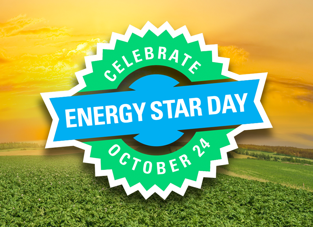 Banner in front of rising sun with Celebrate ENERGY STAR DAY October 24