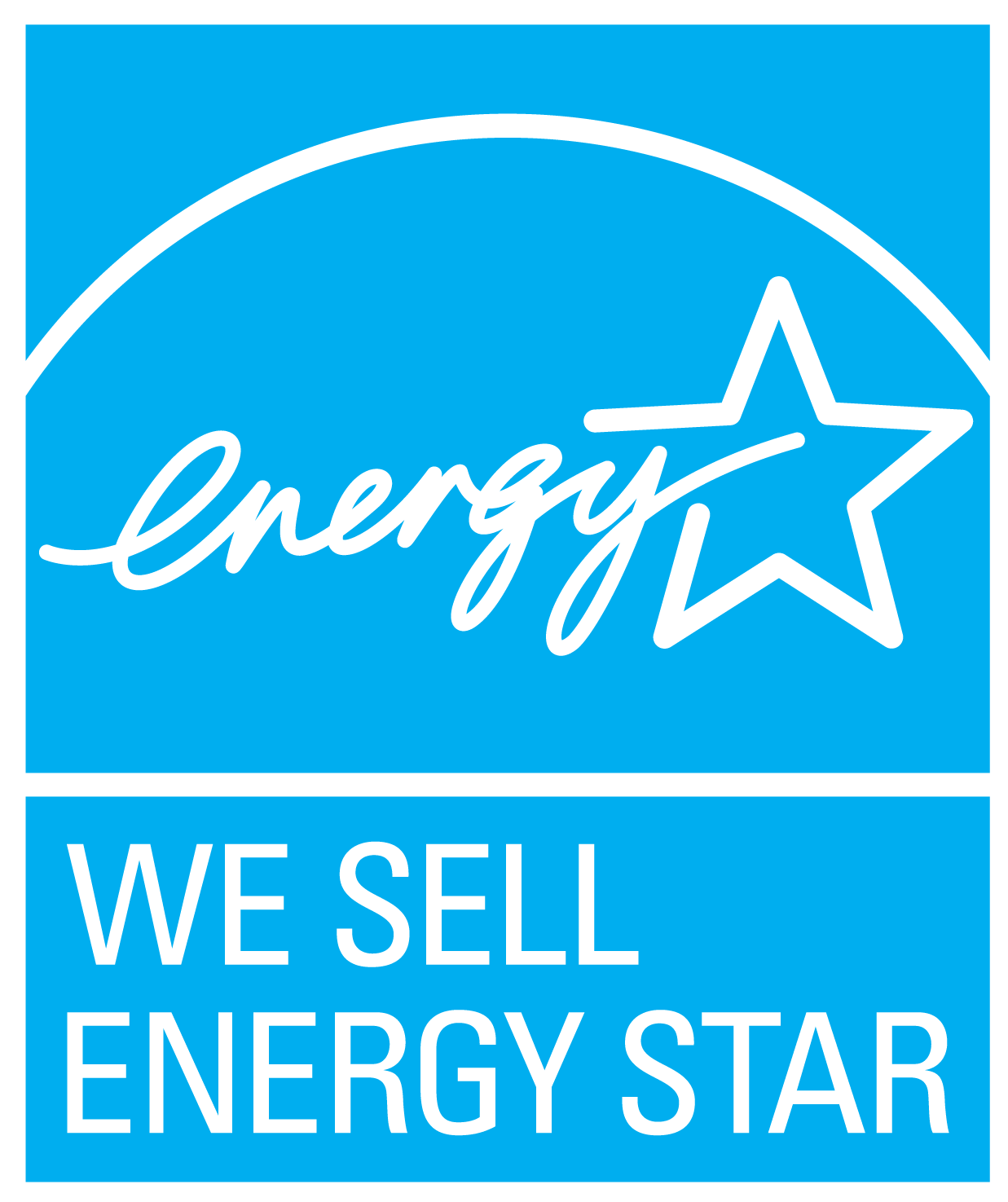 Blue ENERGY STAR symbol with We sell ENERGY STAR caption