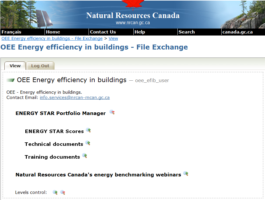 OEE Energy efficiency in buildings file exchange screen capture